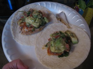 chicken and guacamole tacos