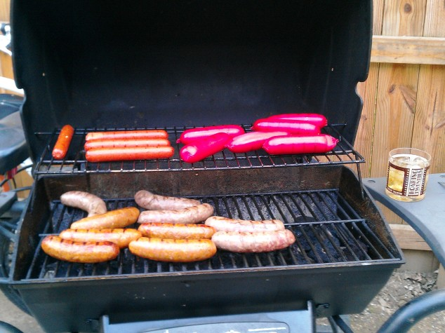 The Grill with Brats, Italian Sausage, Frick's Red Skins