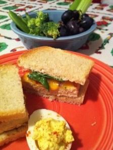 Italian marinated grilled tofu and cheese sandwich