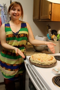 elise with our pre-baked masterpiece
