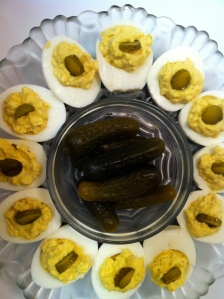 deviled eggs and pickles