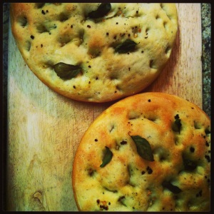 roasted garlic and basil focaccia